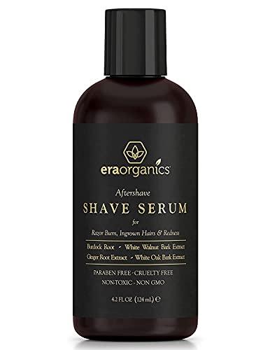 Era Organics Aftershave Serum for Razor Bumps & Ingrown Hairs - Soothing & Moisturizing Shaving Skin Care For Men to Prevent Razor Burn, Calming Ingrown Hair Treatment With Ginger Root & Burdock Root