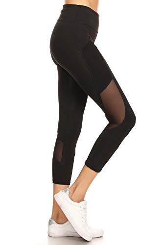 LA12ST Women's Stretchy Skinny Sheer Mesh Insert Pockets Workout Leggings Active Performance Yoga Tights