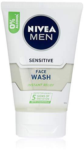 NIVEA Men Sensitive Face Wash with Chamomile & Vitamin E (100ml), Men's Sensitive face wash gel for Instant Relief from irritation.