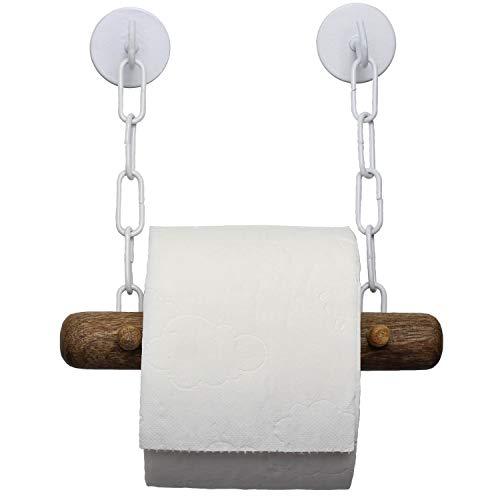 DEKAZIA® Toilettenpapierhalter ohne Bohren | selbstklebend | Mango Holz | Klopapierrollenhalter für WC/Badezimmer | Bad Vintage Deko | weiß
