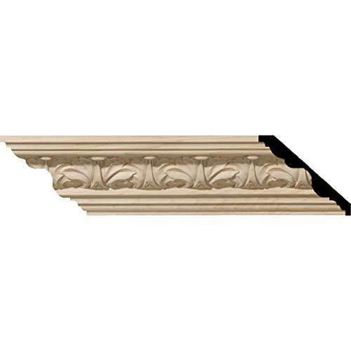 """Ekena Millwork MLD02X02X03ACAL Acanthus Leaf Carved Wood Crown Moulding, 2 1/8""""H x 2 3/8""""P x 3 1/4""""F, Alder"""