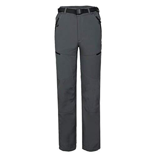 CIKRILAN Hommes Outdoor Polaire Soft Shell Coupe-Vent Sports Trousers Respirant Randonnée Camping Travelling Pantalon (XL, Gris)