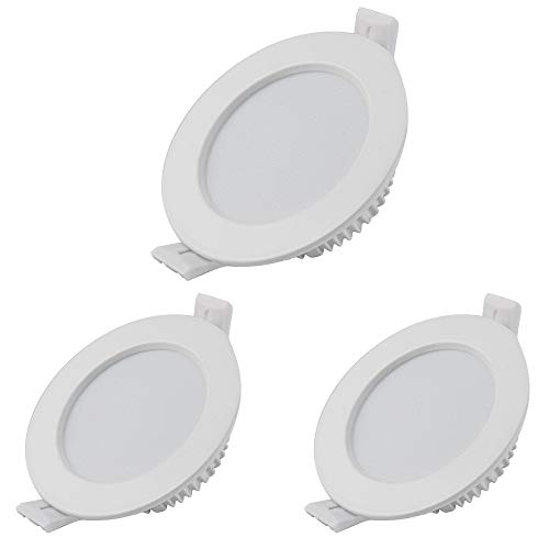 LED Einbaustrahler 5W 230V IP44 Ultra Flach 3er Set, Badeinbaustrahler Deckenspots Warmweiß 3000K, Nicht Dimmbar LED Einbauleuchten für Wohnzimmer, Schlafzimmer, Küche, Büro