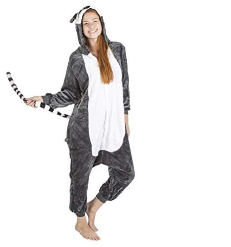 Ducomi Kigurumi Pijamas Disfraces Divertidos - Pijamas Unisex Adulto Cosplay Disfraz de Animal - Peluche Halloween y Carnaval Mujer Hombre - Pijama Tuta Unicornio, Koala, Panda (Lemur, M)