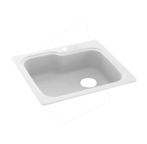 Swanstone KS03322SB.010 Solid Surface 1-Hole Drop in Single-Bowl Kitchen Sink, 33-in L X 22-in H X 10-in H, White