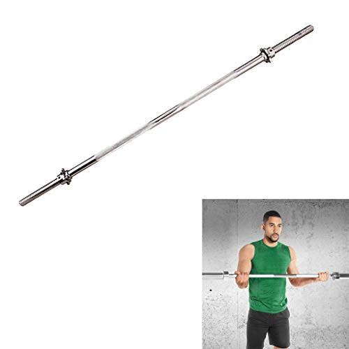 47 inch Long Weight Bar, Olympic Barbell Weight Lifting Bar with Two Collars Solid Iron Weighted Workout Bar for Home Exercises (Size : 47in - Straight Bar)