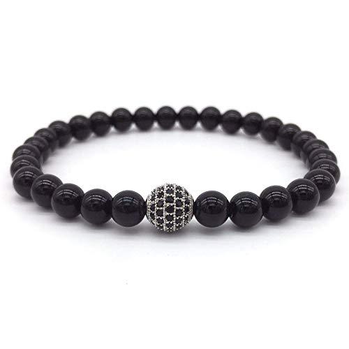 Fashion Bracelets for Men Spherical Black Plaster and Stone Lace Decorative Bracelets Men's Bracelets Gifts for Men 1
