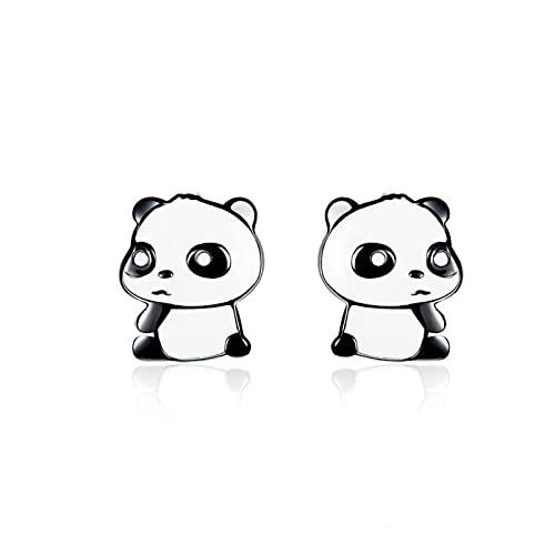 SALAN Pendientes De Botón De Plata Esmaltados para Bebé Panda para Niña, Pendientes De Animal En Blanco Y Negro, Regalos De Plata De Ley 925 para Mujer