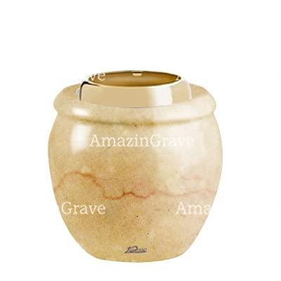 AmazinGrave - Colecciones en mármol de Botticino para decoración de lápidas o Tumba - Base de lámpara votiva Amphòra 10cm - con Montaje a la pared3245-5145