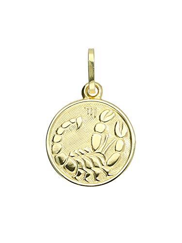 MyGold Sternzeichen Anhänger Skorpion (Ohne Kette) Gelbgold 333 Gold (8 Karat) Ø 12mm Rund Tierkreiszeichen Horoskop KettenanhängerZodiac round A-06017-G303-Sko