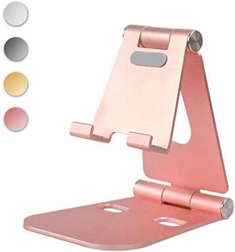Yinaa Soporte para móvil/Tablet Ajustable Universal Soporte Ajustable Soporte multiángulo portátil para Tablets Foldable Aluminum Alloy Pink