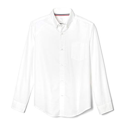 French Toast Big Boys' Long Sleeve Oxford Dress Shirt, White, 14