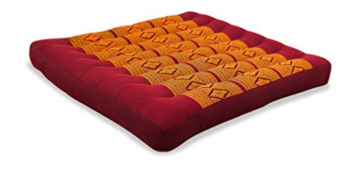 livasia Kapok Sitzkissen 50x50x6,5cm der Marke Asia Wohnstudio, optimal als Stuhlauflage oder Meditationskissen, Bodenkissen BZW. Stuhlkissen (rot/gelb)