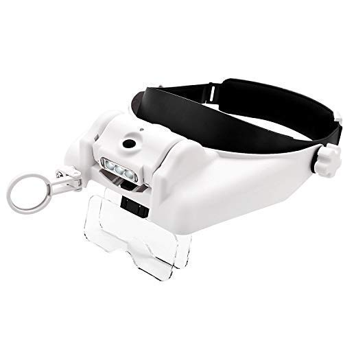 1.0X 1.5X 2.0X 2.5X 3.5X 8X lighted head mount jewelers magnifier headband jewelry making loupe headset reading close work crafts sewing magnifying glasses visor -LED light interchangeable Lens