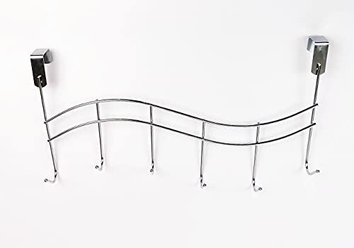 DILAW - Perchero Puerta de Dormitorios o Armario. Colgador de Metal 6 Ganchos Color Plata Brillante para Puertas de Hasta 3 cm de Grosor