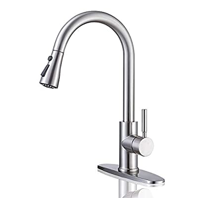 Kitchen Faucet, Kitchen Sink Faucet Arofa Single Handle Stainless Steel Brushed Nickel Pull Down Kitchen Faucet with Sprayer