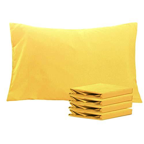 NTBAY Fundas de Almohada de Microfibra, Paquete de 4 Fundas de Almohada con Cierre Suave Antiarrugas y Resistente a Las Manchas, 50x75 cm, Amarillo