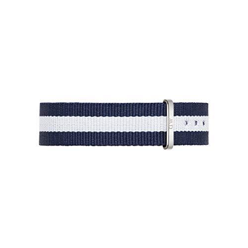 Daniel Wellington Classic Glasgow, Correa Reloj Azul-Blanco/Plateado, 18mm, NATO, para Mujer y Hombre