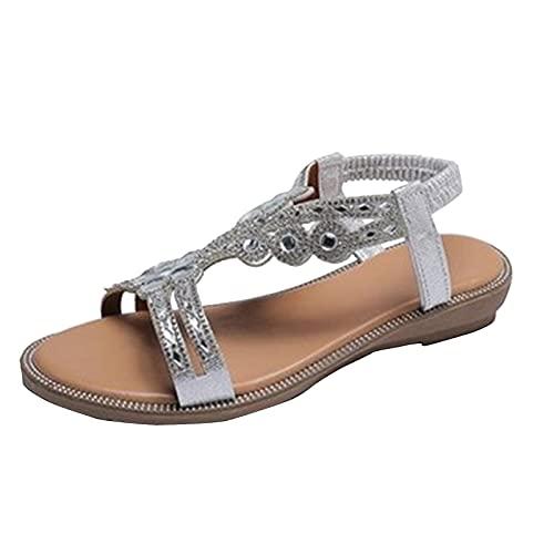 Verano Retro Sandalias Planas de Tacón Bajo para Mujeres Mujer Bohemia Elásticas Flores Cristales Sandalias Planas Zapatos de Playa