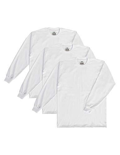 Pro Club Men's 3-Pack Heavyweight Cotton Long Sleeve Crew Neck T-Shirt, White, 2X-Large