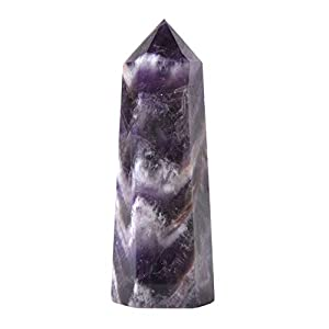 JUST IN STONES Natural African Amethyst Gemstone Crystal Hexagonal Pointed Reiki Chakra Faceted Prism Wand Stone Home Decor