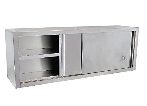 Beeketal 'BWS180' Gastro Küchen Wandhängeschrank aus Edelstahl mit auf Rollen gelagerte Schiebetüren, Hängeschrank mit fest verbautem Einlegeboden - Außenabmessungen (L/B/H): ca. 1800 x 400 x 650 mm