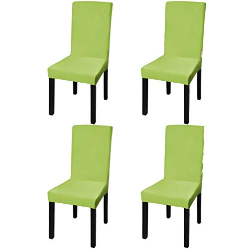 RIKOJ Funda de silla elástica recta 4 piezas Verde