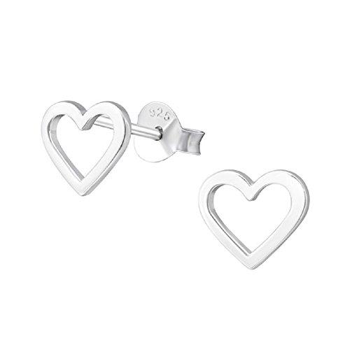 Laimons, orecchini da donna lucidi a forma di cuore, 8 mm, in argento sterling 925