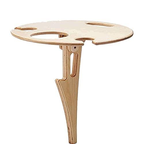 SunshineFace Mesa de vino plegable de madera para mesa de vino, copas de vino, soporte de botella para patio al aire libre, camping, playa