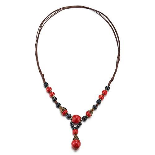 COOLSTEELANDBEYOND Y-Forma Statement Collar Negro Rojo Piedras Perla Enlace Encantado con Colgantes Colgante, Tribal Etnico Arte Popular