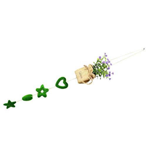 VALICLUD Artificial Colgante Flor Plantas Macetas Arpillera de Yute Maceta Colgante Amor Corazón Patrón Colgante Guirnalda Signo Pared Ventana Adorno para La Boda Día de San Valentín