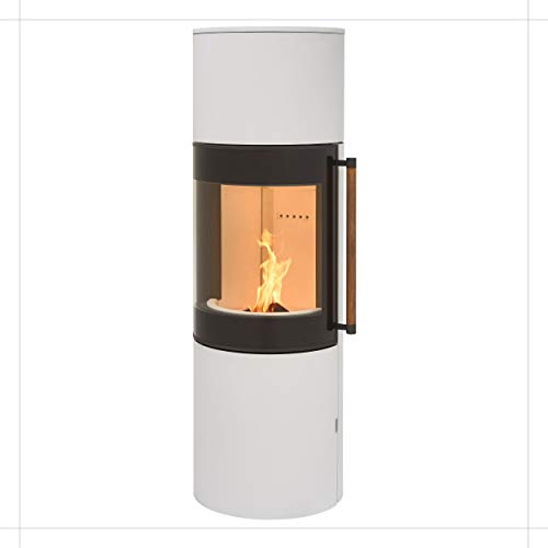 H&M MONO L 3.0 runder Kamin-Ofen in Stahl Weiß moderne 160° Sichtscheibe Reeling-Griff Holz-Fach mit separater Tür 7kw 149,8cm Höhe innovatives Design