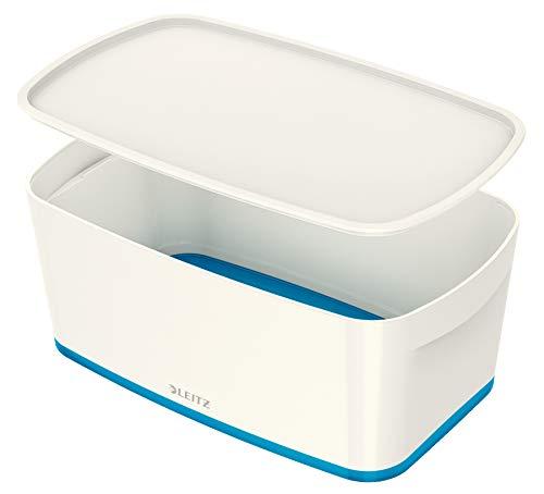 Leitz MyBox, Aufbewahrungsbox mit Deckel, Klein, Blickdicht, Weiß/Blau Metallic, Kunststoff, 52291036