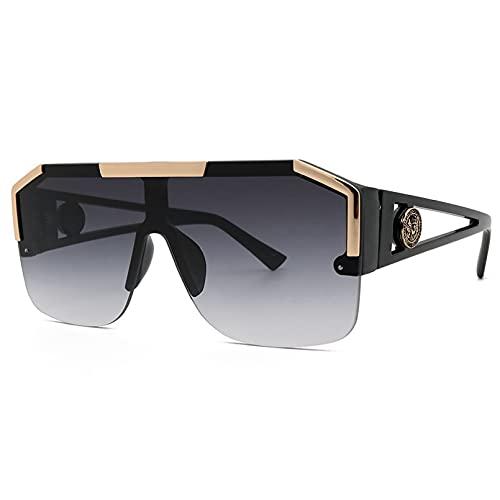 N/A Gafas de Sol para Hombre Gafas de Sol para Mujer Gafas de Sol de Estilo de Gafas de Sol para Hombres y Mujeres con Cabeza de león de una Pieza sin Marco