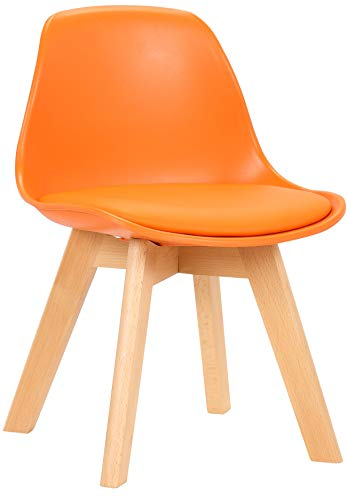CLP Butaca De Salón Infantil Lindi En Polipropileno I Silla De Dormitorio para Niños con Base De Madera I Color:, Color:Naranja