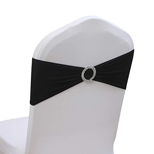 100PCS Stretch Wedding Chair Bands With Buckle Slider Sashes Bow Decorations 10 Colors (Black)