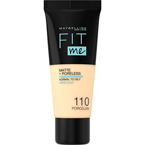 Maybelline Fit me! MATTE&PORELESS Make-up Nr. 110 Porcelain, flüssiges Make-up, passt sich dem Hautton an, feuchtigkeitsspendend, mattierend, leichte bis mittlere Deckkraft, 30 ml