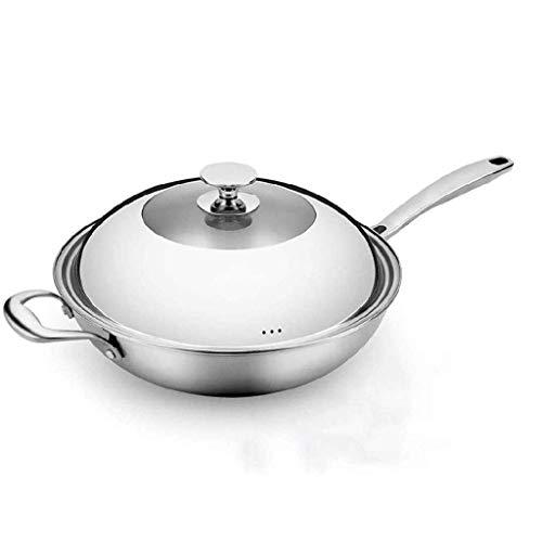Wok con tapa, wok de inducción antiadherente con tapa, con tapa de acero inoxidable endurecido y manijas frescas que no se mantienen