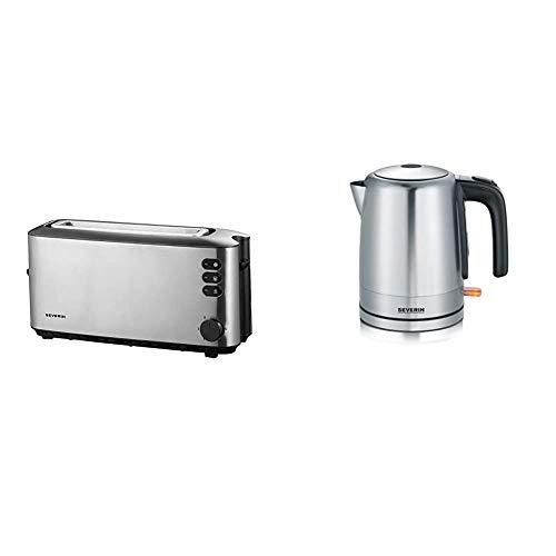 SEVERIN AT 2515 Automatik-Toaster (1.000 W, 1 Langschlitzkammer, Für bis zu 2 Brotscheiben) edelstahl/schwarz & WK 3496 Wasserkocher (ca. 2.200 W, 1,0 L) edelstahl/schwarz