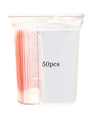 Bolsas de Plástico Transparentes Que se Pueden Volver a sellar, Bolsa de Cierre de Cremallera Reutilizable Fuerte, Engrosamiento y Duradero, Bolsas Zip, Prensa para Cerrar, (40X50cm(50pcs))