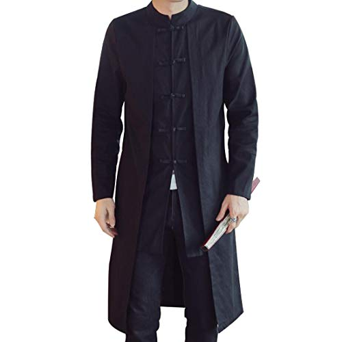 HZCX FASHION Men's Vintage Cotton Linen Stand Collar Frog-Button Trench Coats DSB303-W201-85-SO-US S