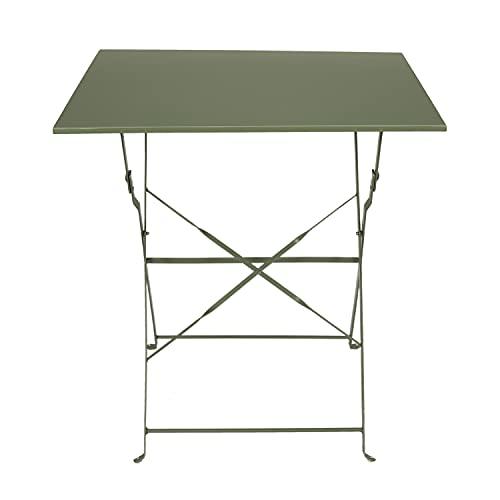 Tavolino pieghevole verde 70x70x71 cm, in acciaio, Verde