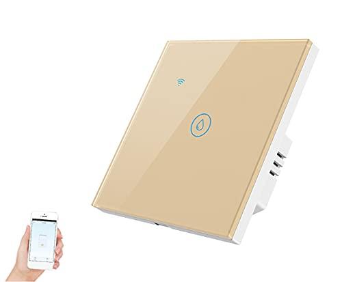 Interruptor de calentador de agua Wifi inteligente Interruptores de caldera, Temporizador de panel táctil de voz de Alexa Google Home, Control de la aplicación Tuya/Smart Life, Interruptor (Oro)