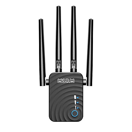 WiFi Range Extender, 1200Mbps Wireless Signal Repeater Booster Dual Band 2.4G and 5G Expander, 4 Antennas 360° Full Coverage, Extend WiFi Signal to Smart Home & Alexa Devices