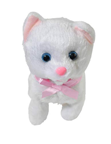 HOME-X Plush White Kitten, Electric Cat Toys, Interactive Pets, Stuffed Animals