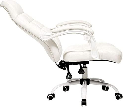 BeingHD Qualitätsbürostuhl, Bürostuhl mit Armlehne Bürostuhl, hochrücker Executive Chair Faux Leder bequemer, liegender Gamingstuhl Swivel Computer Schreibtischstuhl (Color : White)