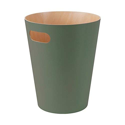 Umbra Woodrow 2 Gallon Modern Wooden Trash Can Wastebasket or Recycling Bin for Home or Office, Spruce