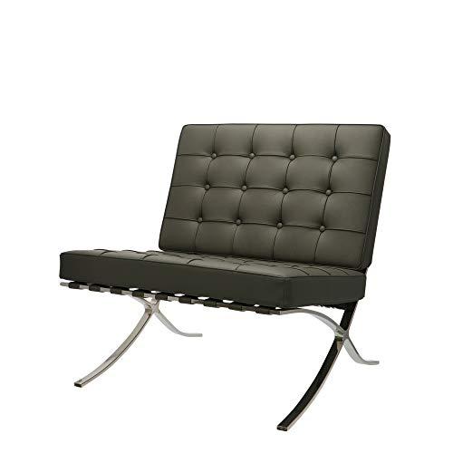 Popfurniture Barcelona Chair mit echtem Leder | preiswerter Relaxsessel, Loungesessel, Cocktailsessel & Clubsessel | Idealer Barcelona Sessel, Barcelona Chair Replik, Barcelona Stuhl, Barcelona Sofa