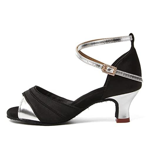 HIPPOSEUS Zapatos De Baile Latino para Mujer Plata Salón De Baile Fiesta...