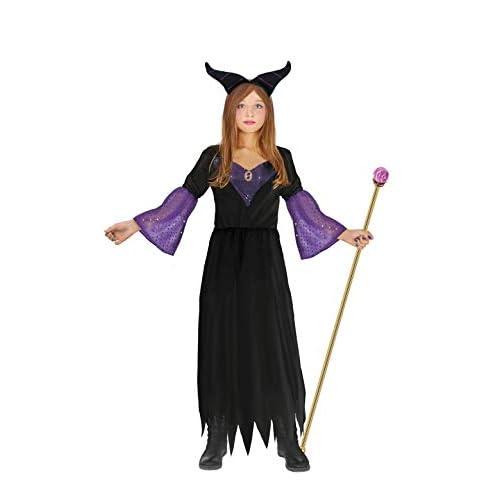 Ciao-Costume Strega Malefica bambina, 7-10 anni, Nero,viola, Ragazza, 16230.7-10